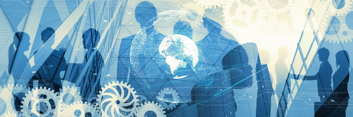 Illustration of business people shaking hands with gears in front of them