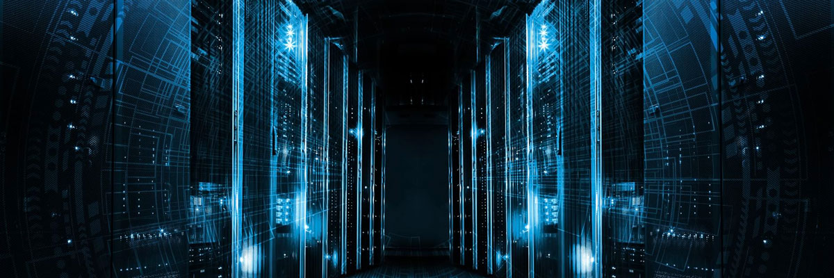 Looking down a hallway of servers