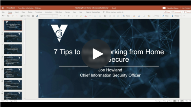 screenshot of the 7 tips to make working from home more secure webinar