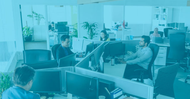 group of office workers at cubicles