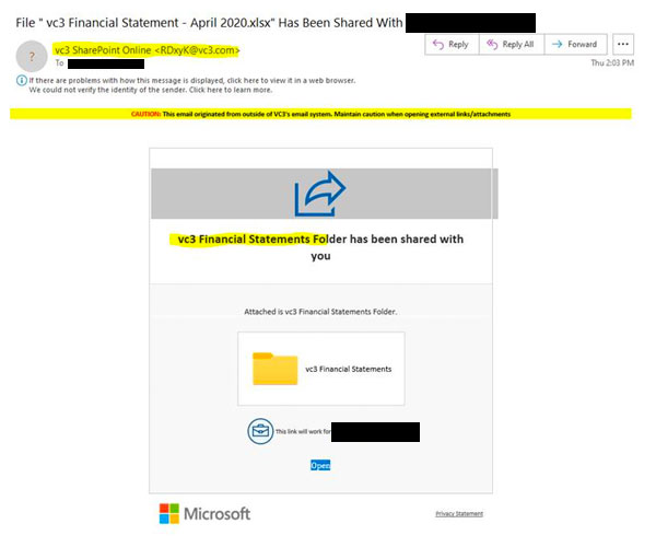 A screenshot of a phishing attack mimicking a SharePoint file share