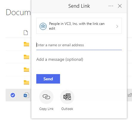Screenshot from SharePoint illustrating the Send Link feature