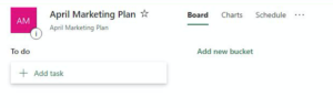 screenshot of microsoft planner showing how to add a task