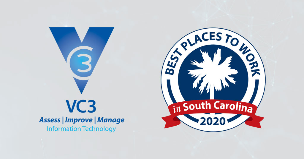 VC3 logo beside the best places to work in South Carolina 2020 logo