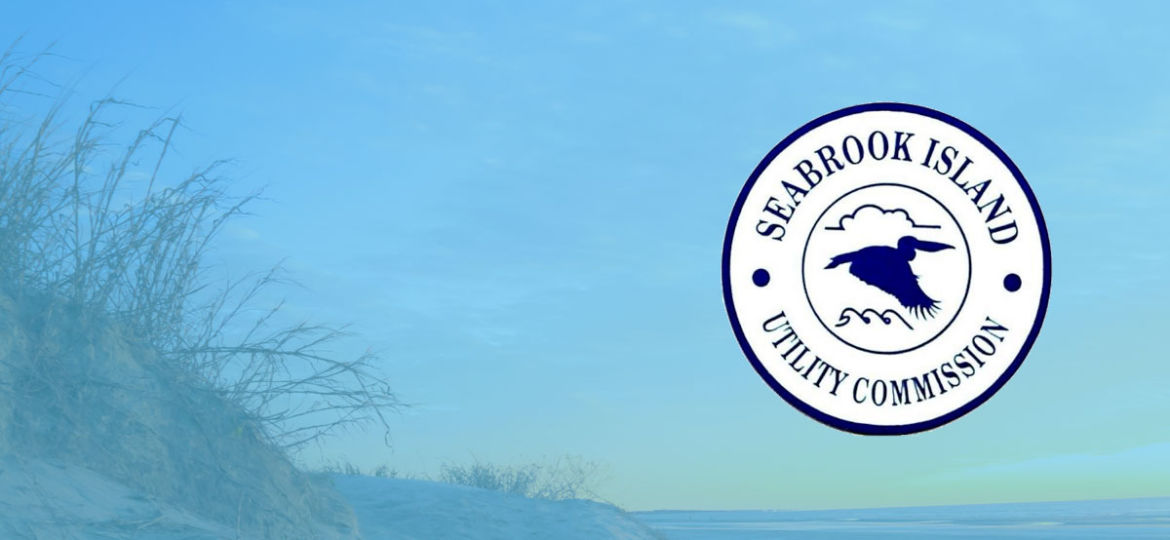 A sunset at the beach with the Seabrook Island Utility Commission logo