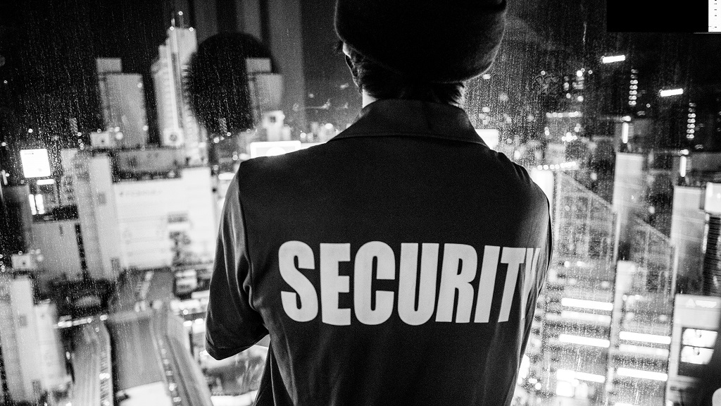 Security guard overlooking city